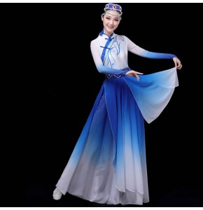 Women's royal blue mongolian dresses chinese folk dance costumes mongolia stage performance drama cosplay dresse
