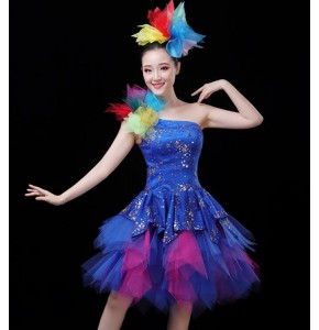 Women's royal blue sequin modern dance opening jazz dance dress singers chorus stage performance dresses