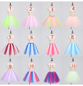 Women's singers modern dance chorus host stage performance skirt girls rainbow  pettiskirt  party photography cosplay skirt