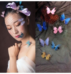 Women's stage performance fairy drama cosplay butterfly hairpin host singers photos cosplay hair clip