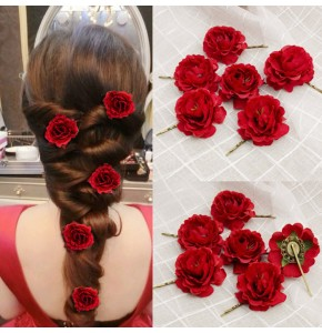 Women's stage performance flamenco rose hairpin korean style bride wedding party hair headdress 6pieces hairpin
