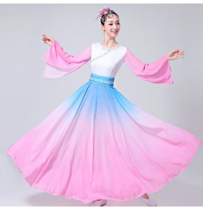 Women's traditional Chinese folk dance dresses ancient for female pink blue gradient fairy yangko fan dance dresses costumes