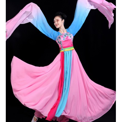 Women's water sleeves chinese folk dance dress ancient traditional classical fairy princess cosplay dresses
