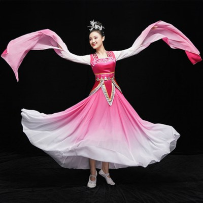 Women's water sleeves pink gradient chinese folk dance dresses hanfu fairy tradtional classical ancient fan umbrella dance dress