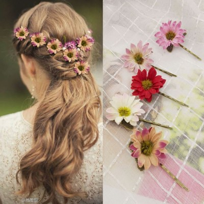 Women's wedding party birde daisy hairpin  stage performance host singer hair flower headdress one piece