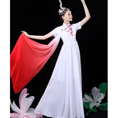 Women's white colored Chinese ancient traditional classical dance dress singers dancers fairy drama cosplay dress costumes