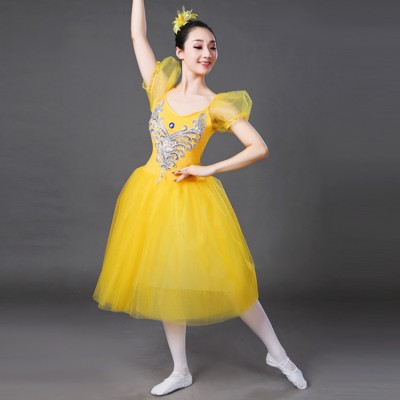 Women's white modern dance ballet dresses for female turquoise yellow  competition stage performance tutu skirt long dresses