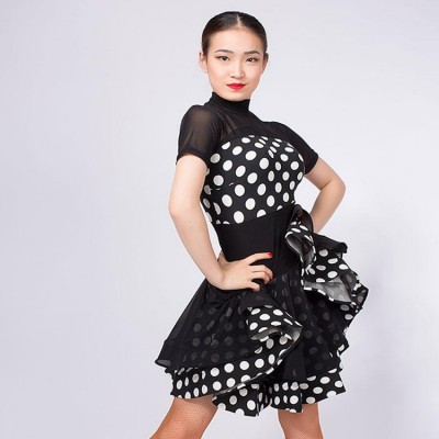 Women's white polka dot latin dresses competition exercises salsa rumba chacha dancing costumes