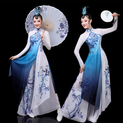 Women's white with blue Chinese folk dance costumes ancient traditional classical stage performance umbrella fan dance dress costumes