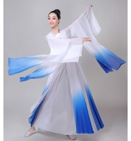 Women's white with blue chinese folk dance costumes hanfu fairy dress classical dance dress stage performance drama cosplay dress