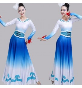 Women's white with blue chinese folk dance dresses ancient traditional classical dance lead dancers dresses