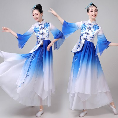 Women's white with blue colored chinese folk dance costumes ancient traditional classical yangko fan umbrella dance costumes