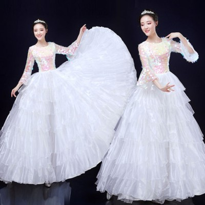Women's white with sequin fairy drama cosplay dress opening dance dresses chorus dress stage performance singers dresses