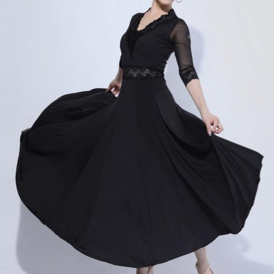Women's wine colored ballroom dancing dresses black waltz tango dancing dresses