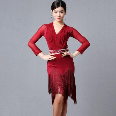 Women's wine colored competition latin dance dresses salsa samba rumba dance dress costumes
