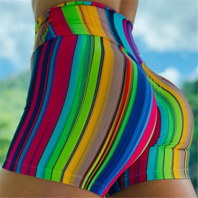 Women's work out exercises gyms hot pants training stretch rainbow stripes printed fitness yoga shorts