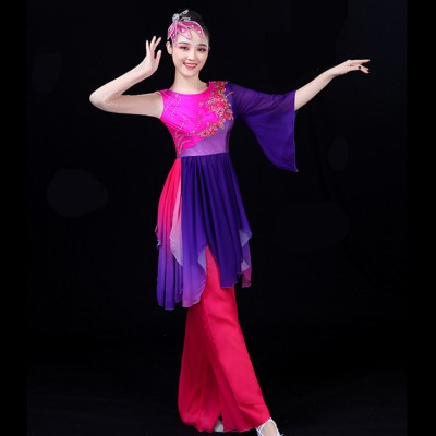 women's yangko fan dance Chinese folk dance costumes violet green gradient color china style classical performance competition tops and pants