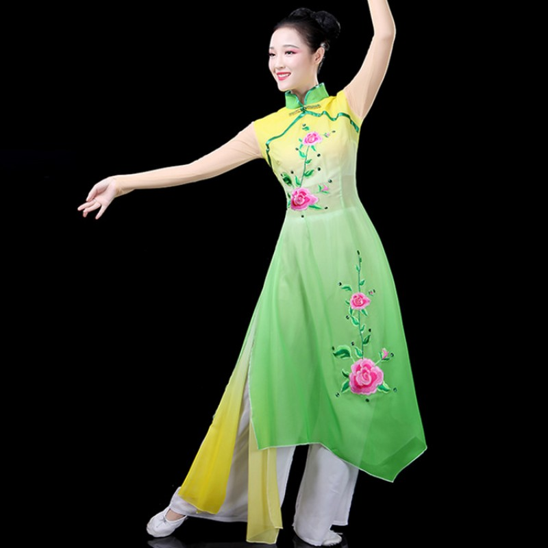 Women's yangko fan dancing costumes green yellow gradient colored classical fairy photos oriental dance studio competition dresses