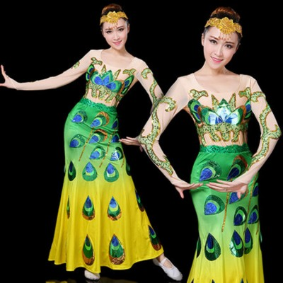 Women's yellow with green chinese folk dance costumes modern dance peacock stage performance mermaid dresses costumes