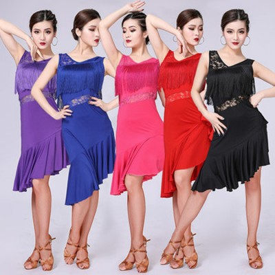 Women'sgirls  latin dance dresses lace rumba tassels rumba samba chacha dance dresses costumes