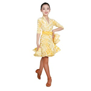 Yellow competition stage performance latin dancing dresses for girls kids children gold velvet professional samba salsa dancing costumes