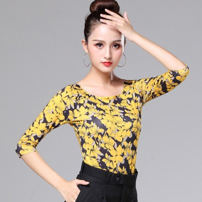 Yellow floral latin dance tops competition stage performance  ballroom waltz tango professional salsa chacha rumba dance tops