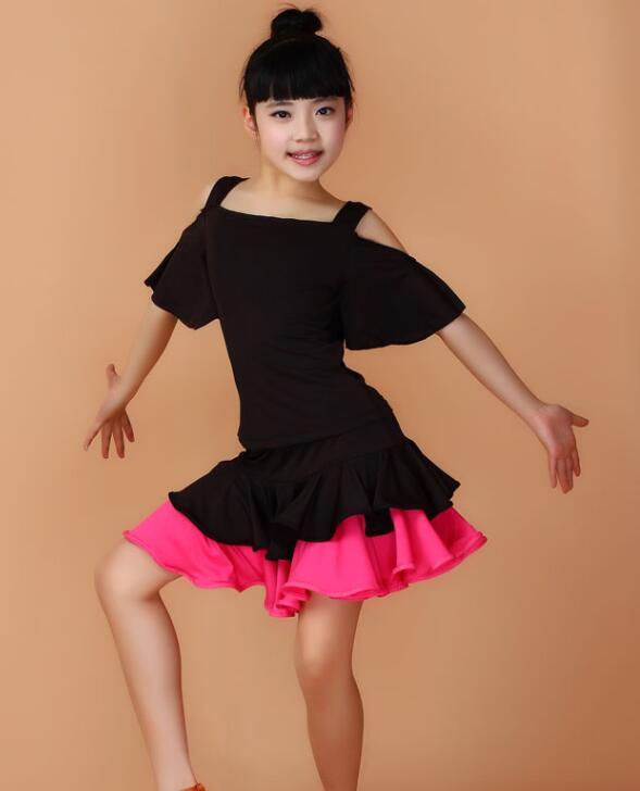 f8d7ddea3bba Black hot pink yellow Girls Kids Children Modern gymnastics Latin Dance  Dress Salsa Tango Dance Wear Black Performance Stage Wear Outfits