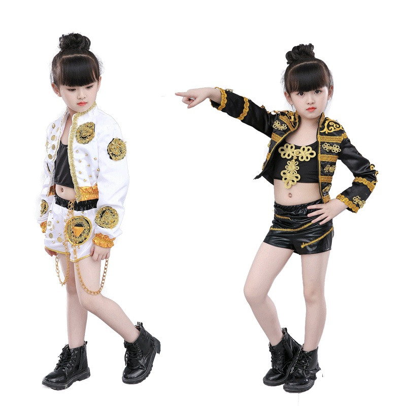 Kids Hiphop Dance Outfits For Children Girls White Black Modern Dance Show Competition Stage Performance Jazz Dancing Costumes Material Polyestercontent Only Coat And Shorts