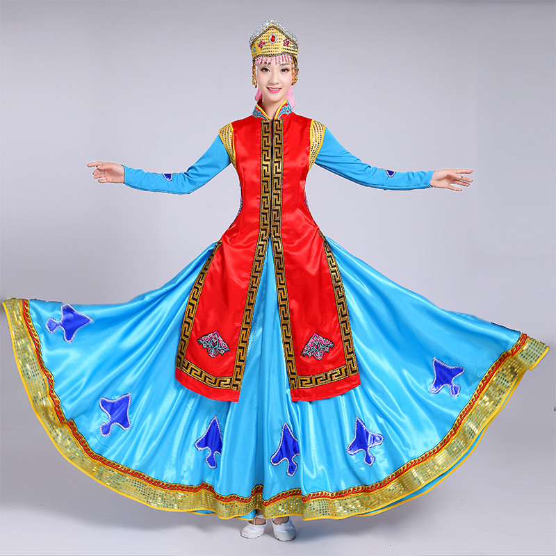 98dec647c Women\'s Mongolian folk dance robes dresses women\'s red blue female  competition cosplay stage party performance folk minority dance dresses