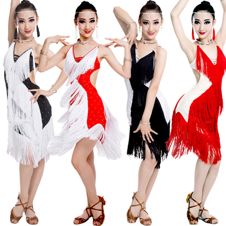 Latin Dance Performance Dresses Red Black Rumba Samba Flamenco Dancing Dress
