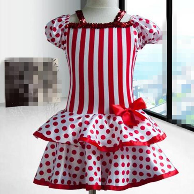 ffc3d7cf9e27 Kids modern dance ballet dresses red polka dot jazz Halloween ...
